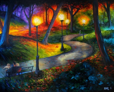 Night in the park | Acrylics on canvas | 61cm x 50cm | Prod year 2016