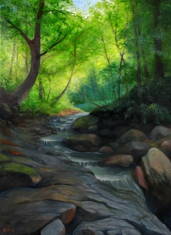 Clearing by the stream | Oil on canvas | 80cm x 50cm | Prod year 2016