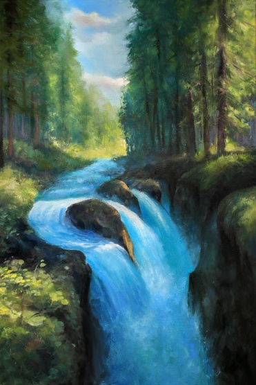 Forest River | Oil on Canvas | 60cm x 40cm | Painted 2017