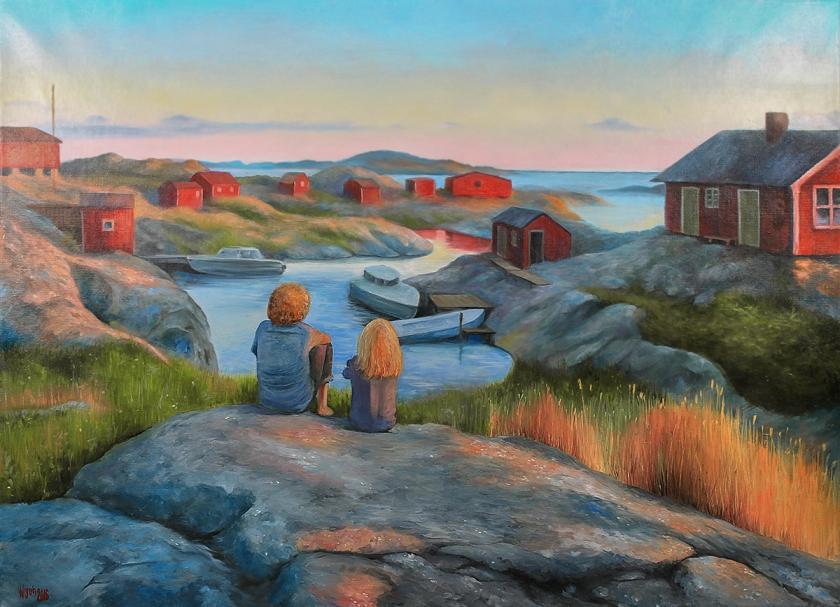 Skärgårdsbarn| Oil on Canvas | 90cm x 65cm | Painted 2016 | Price $1000 / 10.000kr
