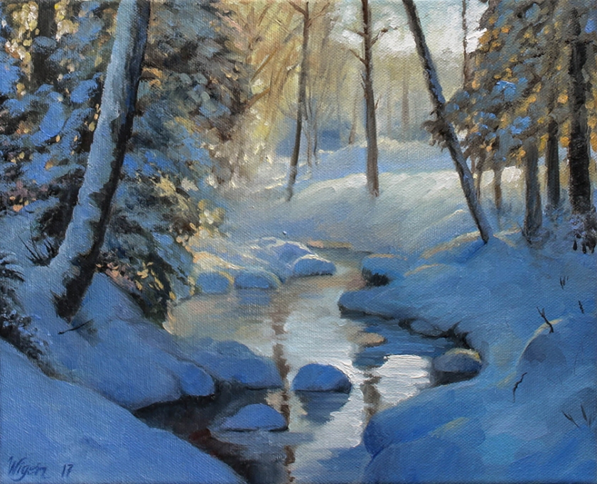 Winter Clearing   Oil on canvas   27cm x 22cm   Prod year 2017   Price $500 / 5.000kr