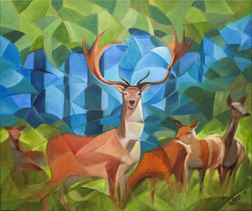 Deer family | Oil on canvas | 55cm x 46cm | Prod year 2018