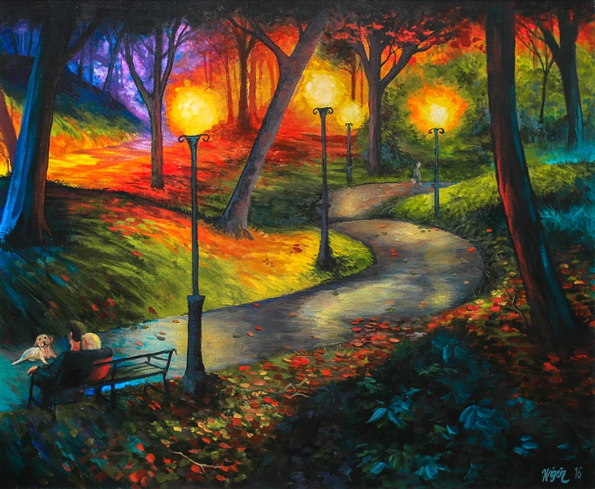 Night In the Park   Oil on canvas   61cm x 50cm   Prod year 2016   Price $500 / 5.000kr