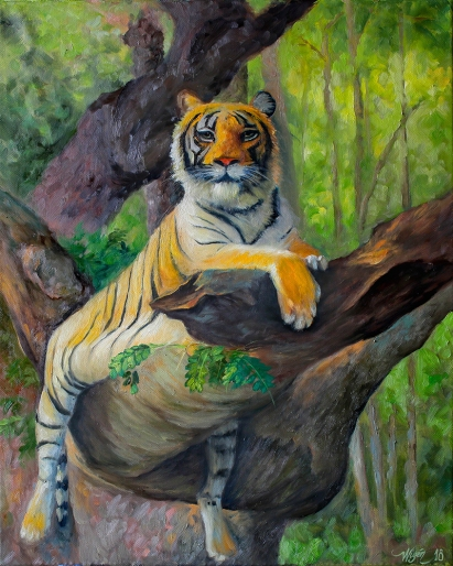 Tree Tiger | Oil on canvas | 50cm x 40cm | Prod year 2018
