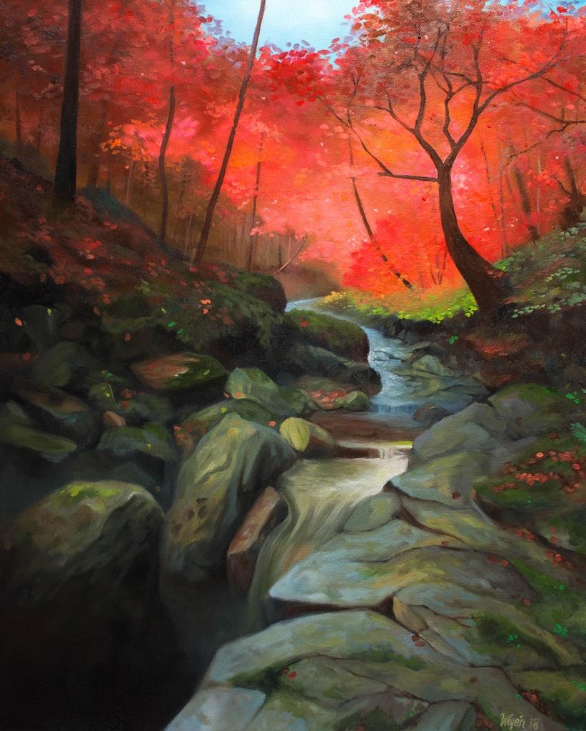 Autumn Stream   Olja på canvas   61x50cm   Målad 2018   Price: $500 usd / 5.000kr