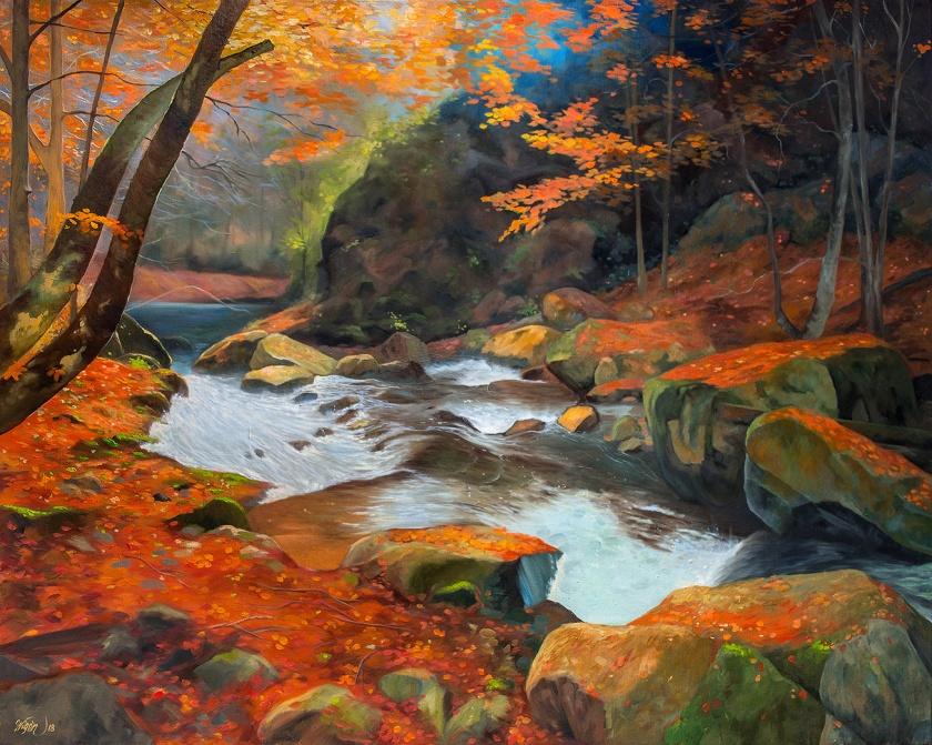 autumn river | Oil on Canvas | 100cm x 81cm | Painted 2018 | Price: $1000 usd / 10.000kr