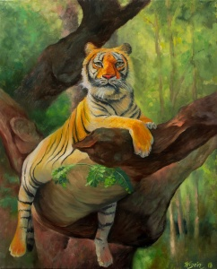 Tiger in Tree | Oil on Canvas | 2018 | 50cm x 40cm | Price $500 / 5.000kr