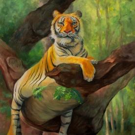 Tiger in Tree | Oil on Canvas | 2018 | 50cm x 40cm | Price $500 / 5.000kr
