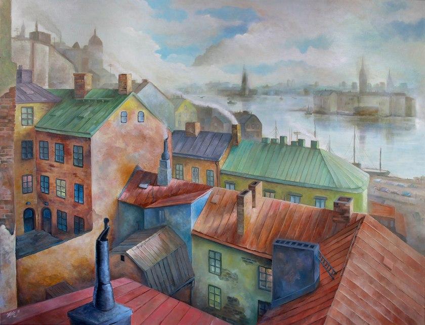 Arbetarslussen | Oil on Canvas | 100cm x 80cm | Painted 2017 | Sold / Såld