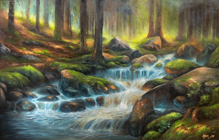 Forest Creek | Oil on Canvas | 100cm x 65cm | Painted 2017-19 | Price $1000 / 10.000kr