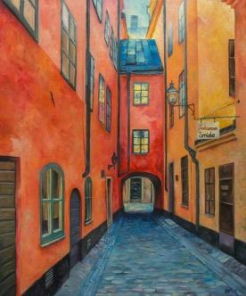Skeppar Olofs gränd   Oil on Canvas   2019   65 cm x 55cm   Price Såld!