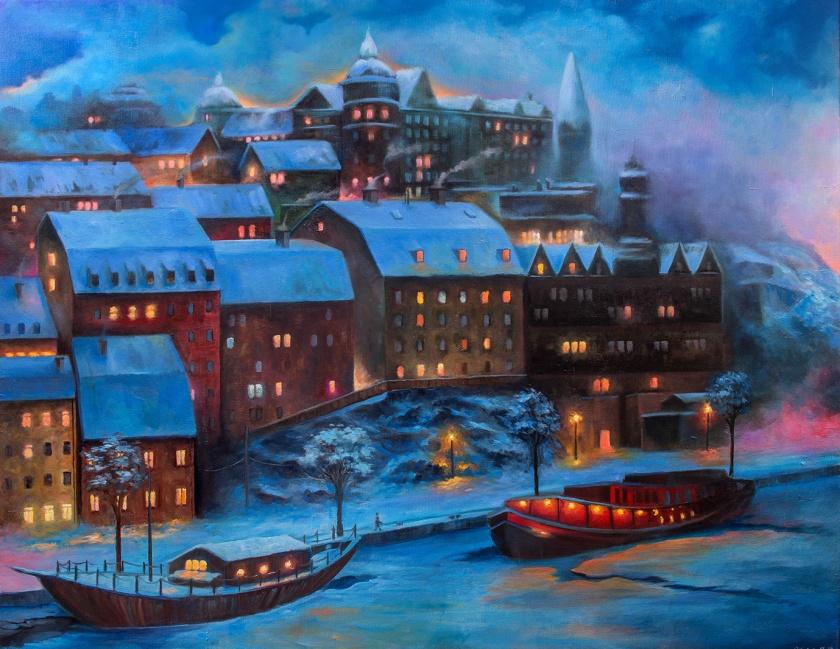 Södermälarstrand | Oil on Canvas | 100cm x 80cm | Painted 2017 | Price: $1000 usd / 10.000kr